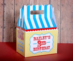 Circus Tent or Carnival Party Gable Favor Box<br>Primary Colors