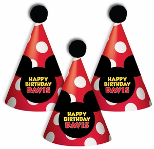 Classic Mickey Mouse Personalized Guest Party Hats