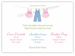Clothesline B&G Triplet Birth Announcement