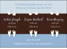 Color Block Boy Triplet Birth Announcement