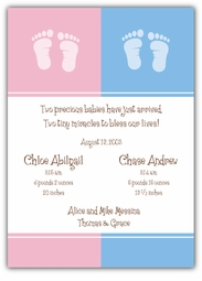 Color Block Girl-Boy Twin Birth Announcement