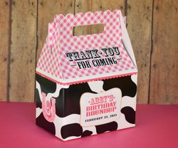Cowgirl Ranch Farm Buckeroo Party<br>Personalized Cow Print Gable Box Party Favor