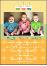 Cupcakes B&G Triplets Photo Birthday Invitation