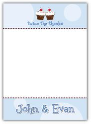 Cupcakes Twin Boys First Birthday Thank You Note Card