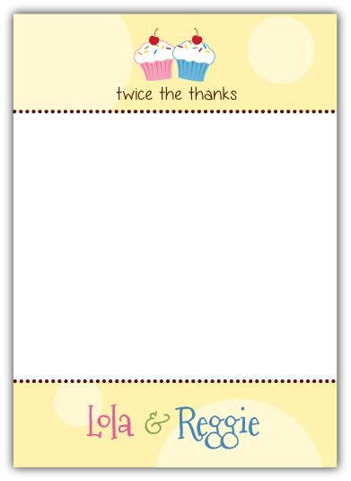 Cupcakes Twins First Birthday Thank You Note Card