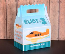 Cute Airplane Personalized Gable Box Party Favor