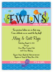 Darling Deep Sea Twin Girls Baby Shower Invitation