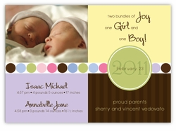 Darling Divide Girl-Boy Twins Photo Birth Announcement