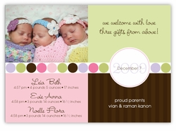 Darling Divide Photo Triplet Girls Birth Announcement