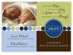 Darling Divide Twin Boys Birth Announcement