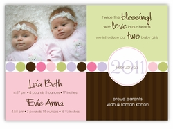 Darling Divide Twin Girls Photo Birth Announcement