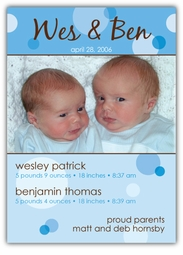 Delicious Dots Boy Twins Photo Birth Announcement