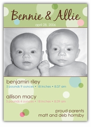 Delicious Dots Girl-Boy Twins Photo Birth Announcement