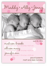 Delicious Dots Girl Triplet Birth Announcement