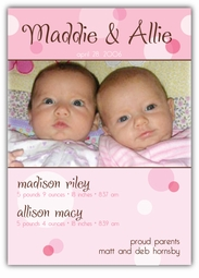 Delicious Dots Twin Girls Photo Birth Announcement