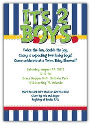 Diaper Pins Brights Boy Twins Baby Shower Invitation