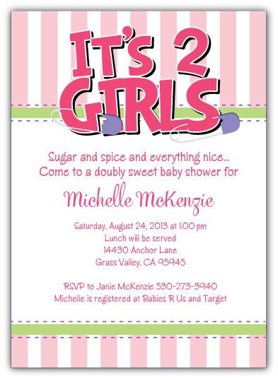 Diaper Pins Brights Girl Twins Baby Shower Invitation