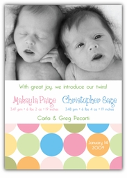 Disco Dots Girl-Boy Twins Photo Birth Announcement
