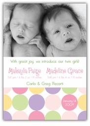 Disco Dots Twin Girls Photo Birth Announcement