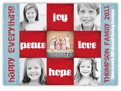 Distressed Squares Multi Photo Holiday Card