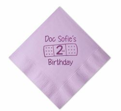 Doc McStuffins Personalized Beverage Napkins for Birthday Party, Color Napkin