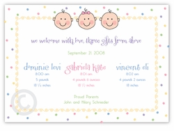 Dots-n-Faces B&G Triplet Birth Announcement