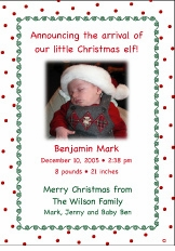Dots-n-Swirls Christmas Birth Announcement