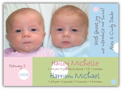 Dots on Blocks Girl-Boy Twins Photo Birth Announcement