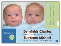 Dots on Blocks Twin Boys Photo Birth Announcement