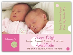 Dots on Blocks Twin Girls Birth Announcement