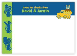 Double Load Dump Truck Twin Boys Thank You Note Card