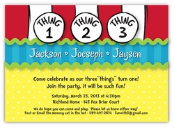 Dr. Seuss Thing 1 2 3 Boy Triplets Birthday Invitation