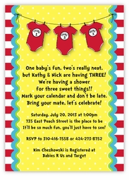 Dr. Seuss Thing 1 2 3 Triplet Onesies Baby Shower Invitation