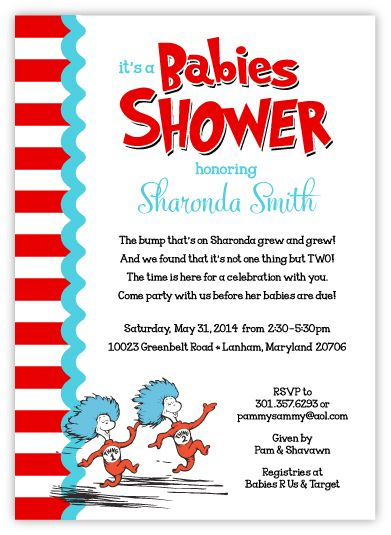 Dr Seuss Thing 1 & Thing 2 Guys on Stripes Twins Babies Shower Invitation