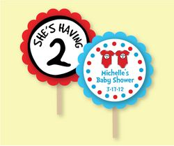 Dr Seuss Thing 1 Thing 2 Onesies<br>Personalized Baby Shower Cupcake Picks