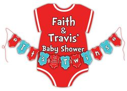 Dr. Seuss Thing 1 Thing 2 Onesies<br>Personalized It's Twins Baby Shower Banner