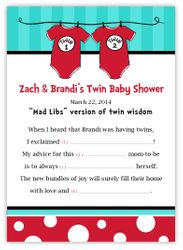 Dr Seuss Thing 1 Thing 2<br>Twins Baby Shower Mad Libs Game & Keepsake