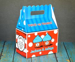 Dr. Seuss Twin 1 & Twin 2 Cupcakes<br>Personalized Gable Box Favor