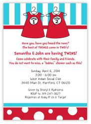 Dr Seuss Twin 1 & Twin 2 Dresses Baby Shower Invitation