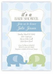 Elegant Elephants Boy Baby Shower Invitation