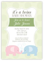 Elegant Elephants Girl Boys Twins Baby Shower Invitation