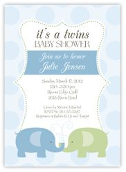 Elegant Elephants Twin Boys Baby Shower Invitation