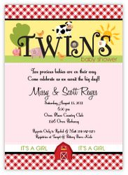Fanciful Farm Barnyard Animals Twin Girls Baby Shower Invitation