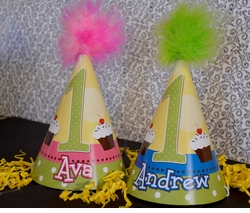 First Birthday Dots with Cupcakes<br>Personalized Party Hats for Twins