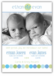 Gender Dot Twin Boys Photo Birth Announcement