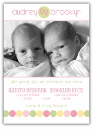 Gender Dot Twin Girls Photo Birth Announcement