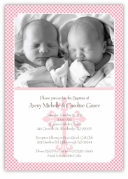 Gingham Classic Twin Girl Baptism Invitation