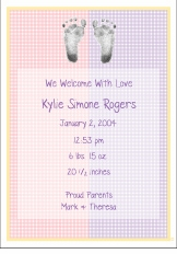 Gingham Color Block Girl Birth Announcement