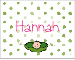 Girl Pea in the Pod Note Cards