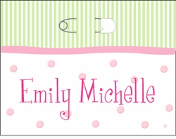 Girl Pin on Stripes Note Cards